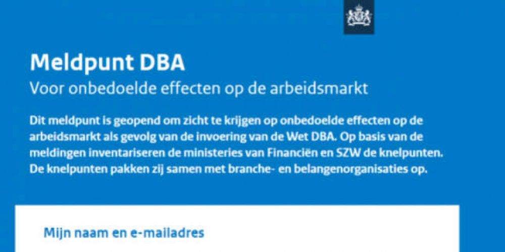 Belastingdienst opent haar Meldpunt Wet DBA