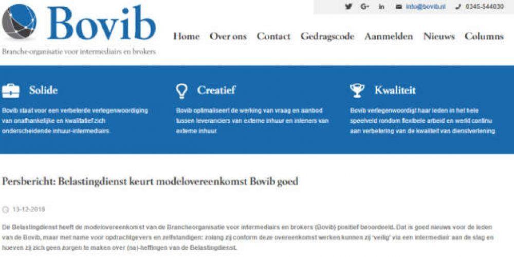 Persbericht: Belastingdienst keurt modelovereenkomst Bovib goed